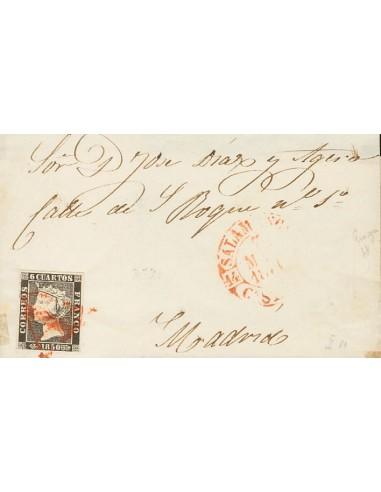 "Castilla y León. Historia Postal. Sobre 1. 1850. 6 cuartos negro. SALAMANCA a MADRID. Matasello ""A"" de Salamanca. MAGNIFICA Y"