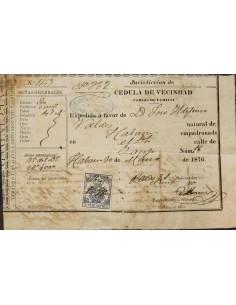 Cuba. Fragmento . 1876. 2´50 pts azul FISCAL de POLICIA. Cédula de Vecindad de LA HABANA (CUBA). MAGNIFICA Y RARA.