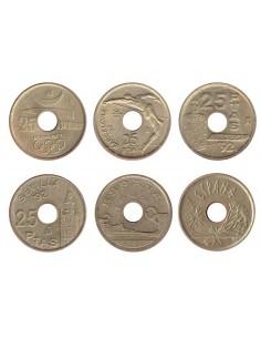 Lote de 6 monedas de España de 25 pesetas años 1990, 91, 92, 92, 93 y 94.