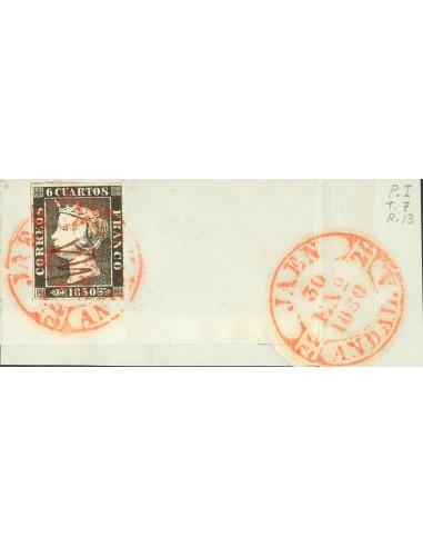 Andalucía. Filatelia. Fragmento 1. 1850. 6 cuartos negro, sobre fragmento. Matasello baeza JAEN / ANDAL. A. MAGNIFICO.