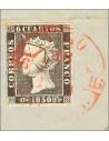 Galicia. Filatelia. Fragmento 1. 1850. 6 cuartos negro, sobre fragmento. Matasello VIGO / GALICIA. MAGNIFICO.