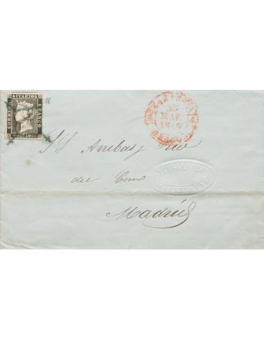 Aragón. Historia Postal. Sobre 1A. 1850. 6 cuartos negro. ZARAGOZA a MADRID. Matasello ARAÑA, en azul. MAGNIFICA Y RARA.