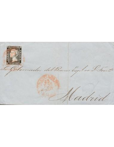 Galicia. Historia Postal. Sobre 1. 1850. 6 cuartos negro. SANTIAGO a MADRID. Matasello baeza SANTIAGO / GALICIA. MAGNIFICA Y R