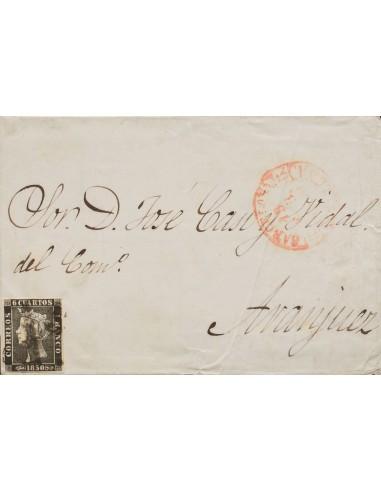 """Cataluña. Historia Postal. Sobre 1A. 1850. 6 cuartos negro. BARCELONA a ARANJUEZ. Mataselllo prefilatélico """"As"""", en negro, de"""