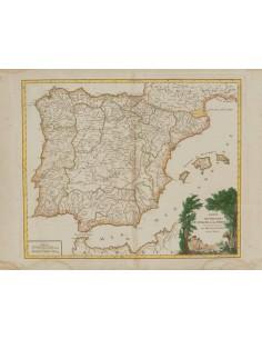 Bibliografía. 1757. Mapa de rutas Postales LES ROUTES DES POSTES D´ESPAGNE ET DE PORTUGAL. París, 1757. Robert de Vaugondy. MA