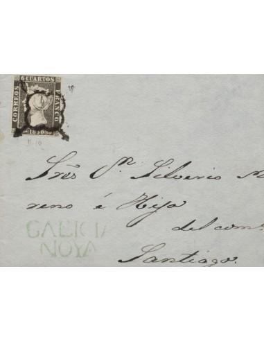 Galicia. Historia Postal. Sobre 1A. 1850. 6 cuartos negro (II-10). Frontal de NOYA (GALICIA) a SANTIAGO. En el frente marca pr