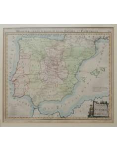 Bibliografía. 1799. Mapa de las Rutas Postales en la Península Ibérica POSTKARTE SPANIEN PORTUGAL (grabado coloreado). Viena,