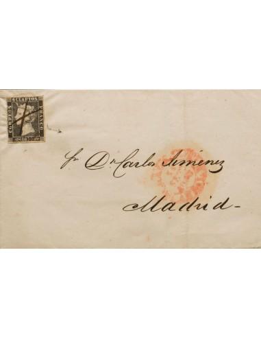 Andalucía. Historia Postal. Sobre 1A. 1850. 6 cuartos negro. MALAGA a MADRID. Matasello ARAÑA, débilmente estampado, por lo qu