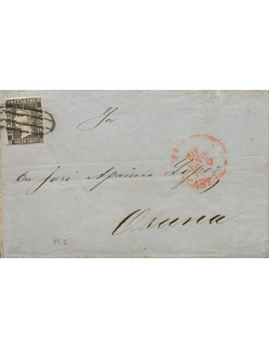 Madrid. Historia Postal. Sobre 1. 1850. 6 cuartos negro. MADRID a OSUNA. Matasello PARRILLA DE MADRID. MAGNIFICA.