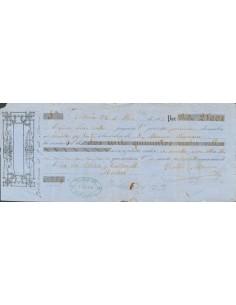 Fiscal. Sobre . 1866. 2 reales 50 cts rojo sobre amarillo, sello de GIRO sobre Letra de Cambio fechada en Vitoria girada a fav