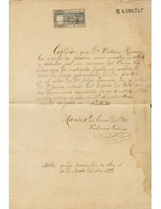 Filipinas. Sobre . 1899. 5 ctvos negro PAPEL SELLADO, sobre documento de Obra de MANILA, habilitación U.S. MILITARY GOVERNMENT