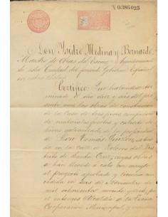 Filipinas. Sobre . 1899. 25 ctvos carmín rosa PAPEL SELLADO, sobre documento de Reconocimiento de Construcción de MANILA, habi