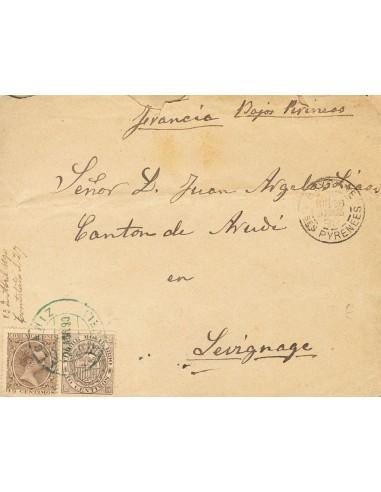 Aragón. Historia Postal. Sobre 219. 1890. 15 cts castaño y Timbre Móvil de 10 cts castaño. ALCAÑIZ a ABUDY (FRANCIA). Matasell