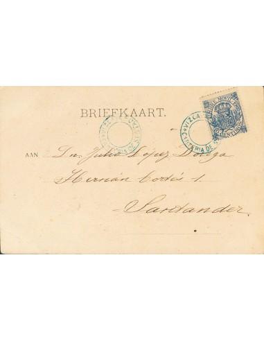 Fiscal. Sobre 22. (1902ca). 10 cts azul, Timbre Móvil (1902). Tarjeta Postal de SESTAO a SANTANDER. Matasello especial CARTERI