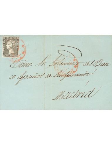 País Vasco. Historia Postal. Sobre 1. 1850. 6 cuartos negro. VITORIA a MADRID. Matasello baeza *** / VITORIA. MAGNIFICA.