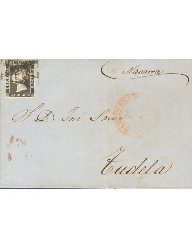 """Cataluña. Historia Postal. Sobre 1A. 1850. 6 cuartos negro. BARCELONA a TUDELA. Matasello """"As"""", en negro de Barcelona, estampa"""