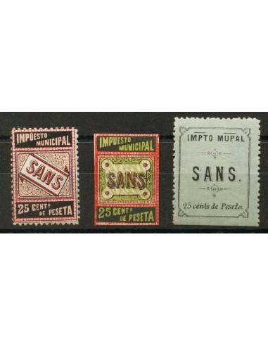 Fiscal. *. (1925ca). 25 cts negro, carmín y castaño claro, 25 cts negro, rojo y verde y 25 cts negro sobre verde. SANS. IMPUES