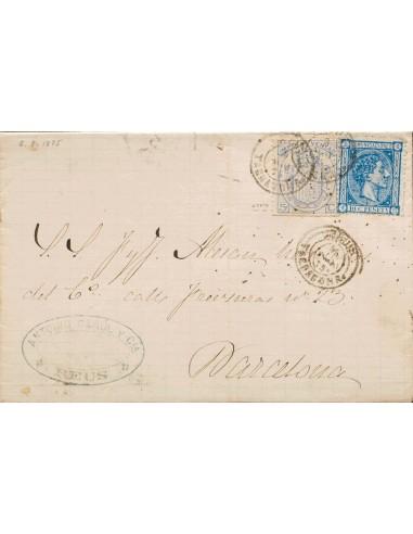 Cataluña. Historia Postal. Sobre 164. 1875. 10 cts azul y Fiscal de 5 cts ultramar de Impuesto de Ventas. REUS a BARCELONA. Ma