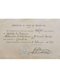 Fernando Poo. Sobre . 1897. Justificante de Correo Certificado de SANTA ISABEL a MADRID, en el frente marca oval ADMINISTRACIO