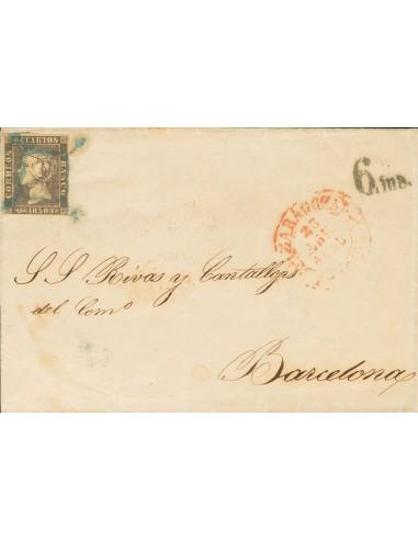 Aragón. Historia Postal. Sobre 1A. 1850. 6 cuartos negro. ZARAGOZA a BARCELONA. Matasello ARAÑA, en azul. MAGNIFICA.