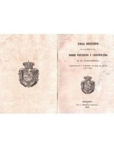 1849. Real Decreto sobre Franqueo y Certificado