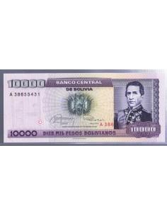 Bolivia. Billete de 10000 pesos bolivianos. 1984