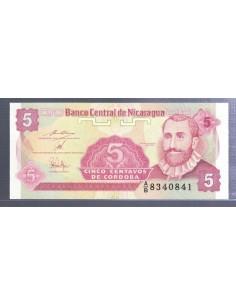 Nicaragua. Billete de 5 centavos de Córdoba