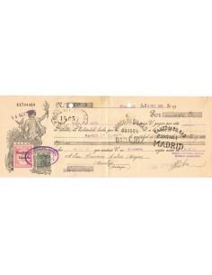1931. Letra de cambio de Madrid con timbre Clase 12 habilitado República Española + Especial movil 15 cts