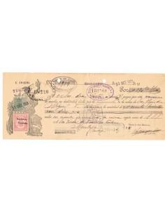 1931. Letra de cambio de Villanueva de la Serena con timbre Clase 11 habilitado República Española + Especial movil 15 cts