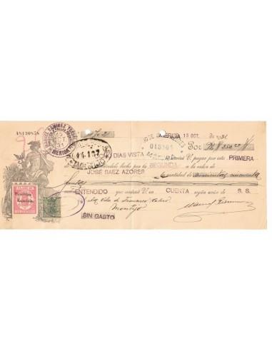 1931. Letra de cambio de Mérida con timbre Clase 10 habilitado República Española + Especial movil 15 cts