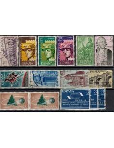 Valores postales de diferentes series de sellos de correo españoles