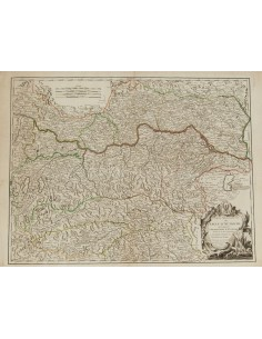 Austria, Bibliografía. 1752. PARTIE SEPTENTRIONALE DU CERCLE D´AUTRICHE. Robert de Vaugondy. París, 1749 (incluyendo el Archid