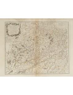 Francia, Bibliografía. 1749. PARTIE SEPTENTRIONALE DU COMTE DE BOURGOGNE OU FRANCHE-COMTE. Robert de Vaugondy. París, 1749 (in