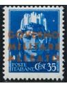 Italia. **Yv 11. 1943. 35 cts azul. CAMBIO DE COLOR EN LA SOBRECARGA, en amarillo naranja. MAGNIFICO Y MUY RARO. (Sassone 11b)