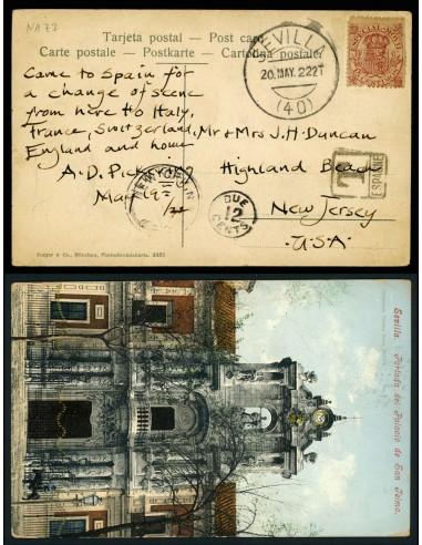 OL00675. Postal. 1922, 20 de mayo. Sevilla a New Jersey