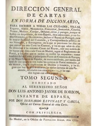Dirección General de cartas en Forma de diccionario. Año 1775. Tomo II