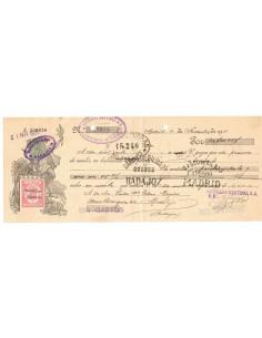 LEVA0385. 1931, letra de cambio de Madrid con timbre Clase 12 habilitado República Española