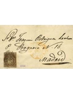 Isabel II. Periodo Sin Dentar. Sobre 22. 1853. 1 cuarto bronce. Correo Interior de MADRID. MAGNIFICA. Cert. CEM.
