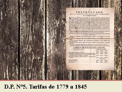 TARIFAS POSTALES DE 1779 A 1845. DEMARCACION POSTAL Nº5 CATALUÑA