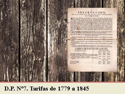 TARIFAS POSTALES DE 1779 A 1845. DEMARCACION POSTAL Nº7 BURGOS