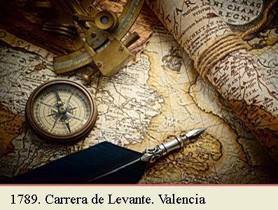 1789. MAPA POSTAL DE LA COMPREHENSION DE LA ADMINISTRACION PRINCIPAL DE VALENCIA EN LA CARRERA DE LEVANTE. ITA Y XAREÑO