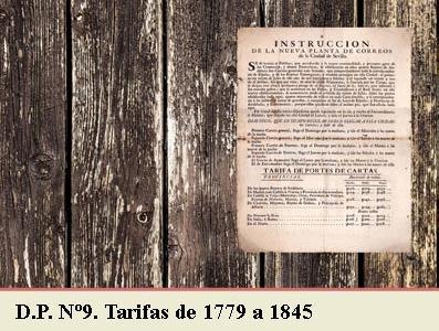TARIFAS POSTALES DE 1779 A 1845. DEMARCACION POSTAL Nº9 MONTAÑAS DE SANTANDER