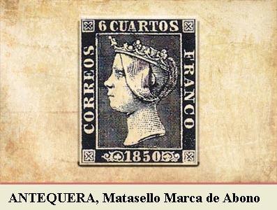 ANTEQUERA, MARCA DE ABONO CANCELANDO LA EMISIÓN POSTAL DE 1 DE ENERO DE 1850