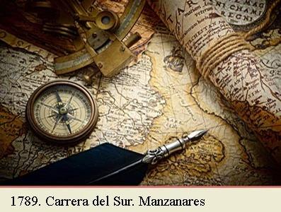 1789. MAPA POSTAL DE LA COMPREHENSION DE LA ADMINISTRACION PRINCIPAL DE MANZANARES EN LA CARRERA DEL SUR. ITA Y XAREÑO