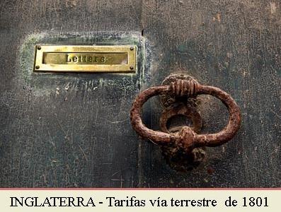 1801 - TARIFA POSTAL POR VIA TERRESTRE CON INGLATERRA
