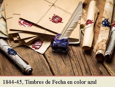 EL TIMBRE DE FECHAS DE 1842 EN COLOR AZUL Y LA CIRCULAR DE 2 DE JUNIO DE 1844