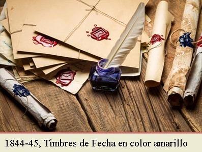 EL TIMBRE DE FECHAS DE 1842 EN COLOR AMARILLO Y LA CIRCULAR DE 2 DE JUNIO DE 1844