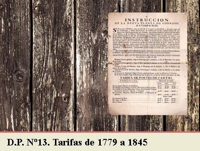 TARIFAS POSTALES DE 1779 A 1845. DEMARCACION POSTAL Nº13 EXTREMADURA BAJA