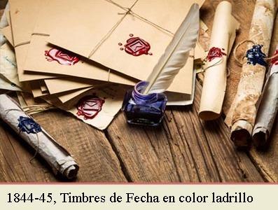 EL TIMBRE DE FECHAS DE 1842 EN COLOR ROJO LADRILLO Y LA CIRCULAR DE 2 DE JUNIO DE 1844