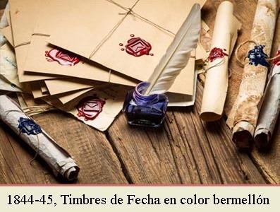 EL TIMBRE DE FECHAS DE 1842 EN COLOR ROJO BERMELLON Y LA CIRCULAR DE 2 DE JUNIO DE 1844